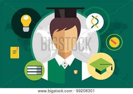 Student silhouette and education objects illustration