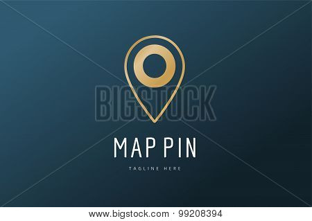 Map pin vector logo icon template. Travel logo, marker shape, navigation symbol