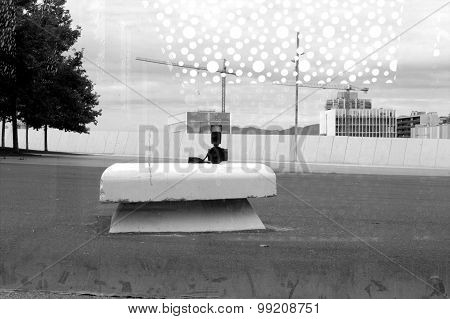Alone camera makes selfy in asphalt urban park monochrome hdr