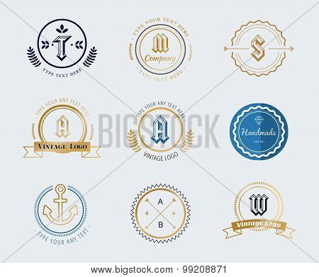 Vintage old style shield logo icon template set