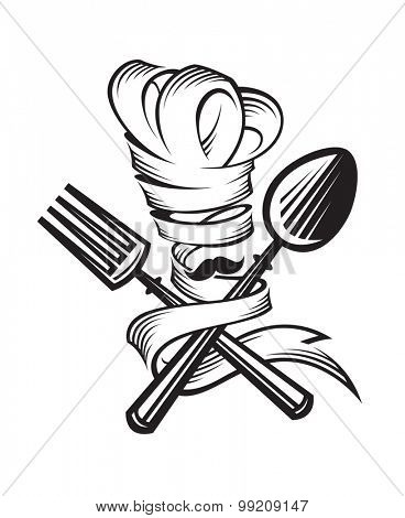 monochrome illustrations of spoon, fork and chef