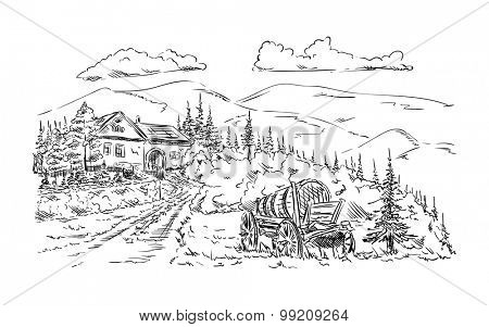 vector - farm village - isolated on background