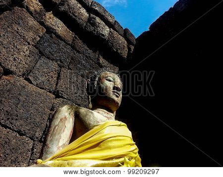 Buddha Portrait On Castle Rock