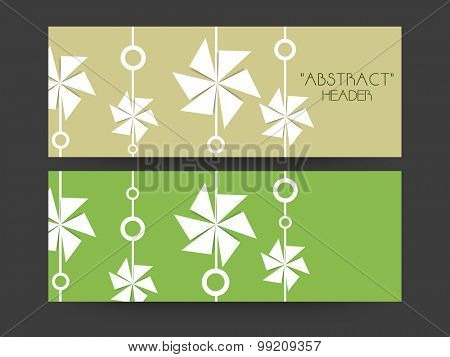 Creative floral design decorated website header or banner set.