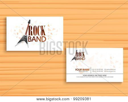Creative business card set with stylish guitar on wooden background for Music concept.