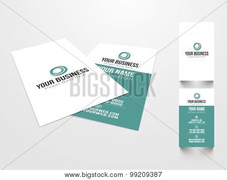 Creative professional business or visiting card design in two colors on grey background.