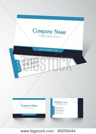 Front and back side presentation of a business card design on grey background.