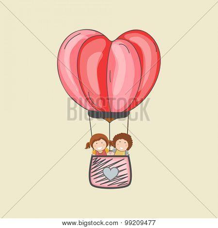 Cute little kids flying in stylish hot air balloon in heart shape.