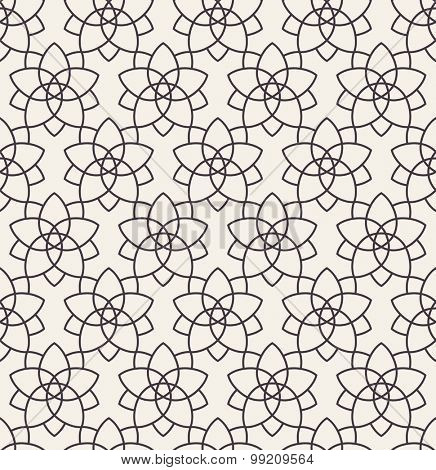 Seamless background in Arabic style. Black stars patterns in white wallpaper for textile design. Traditional oriental decor