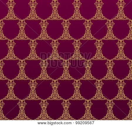 Seamless background in Arabic style. Gold patterns in red wallpaper for design. Traditional oriental decor
