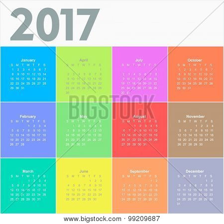 Calendar for 2017 year. Colorful vector