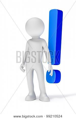 An image of a white man with a blue exclamation mark