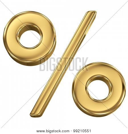 Golden shining metallic 3D symbol percentage sign - isolated on white