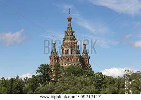 Peter And Paul Cathedral In Peterhof, Russia