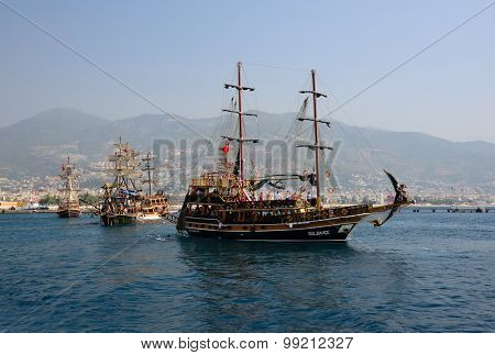 Alanya, Turkey, Jule 25, 2015. Pleasure ships in Alanya bay