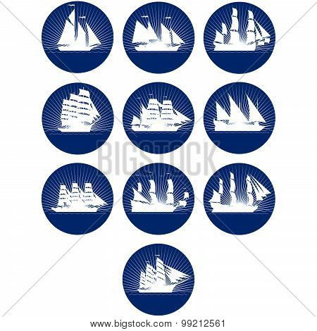 Badges with sailing ships-3