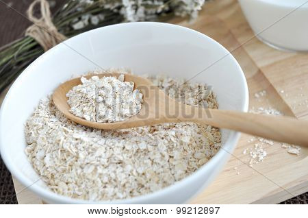 Close Up Oat In Spoon
