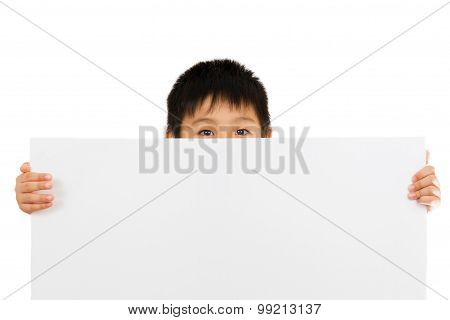 Asian Chinese Children Holding Blank White Board.
