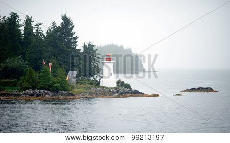 Foggy Conditions Inside Passage Lighthouse Canadian Ground