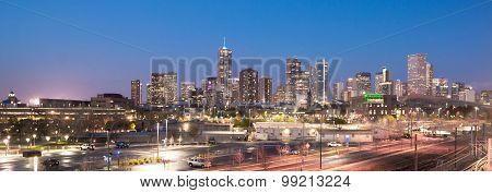Downtown Urban Metro City Skyline Denver Colorado Sunset Dusk