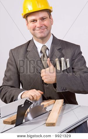 businessman and circular saw
