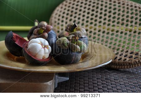 Mangosteen On Cutting Board