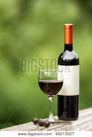 Glass Of Red Wine Outdoors Ready To Enjoy