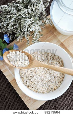 Oat Flakes In Spoon