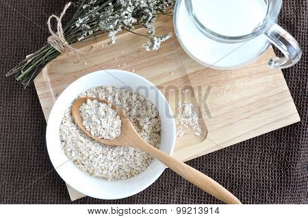 Top View Of Oatmeal For Brakfast