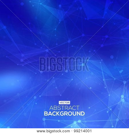 Abstract low poly blue bright technology vector background. Connection structure. Vector data scienc