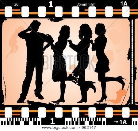 Vector Silhouettes Man And Women On On Photographic Film