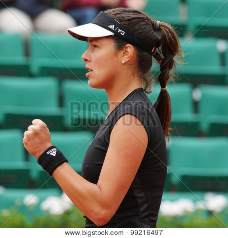 Grand Slam champion Ana Ivanovich in action during her fourth round match at Roland Garros 2015