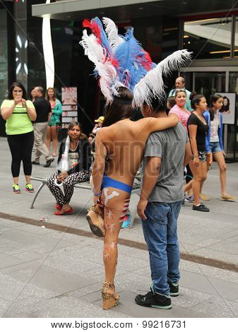 Only in New York. Unidentified street performers at Times Square in Midtown Manhattan