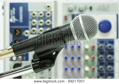 Close up of microphone in concert hall or conference room, Close up old microphone