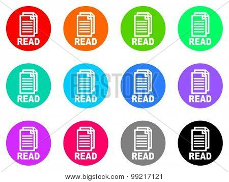 read flat design modern vector circle icons colorful set for web and mobile app isolated on white background