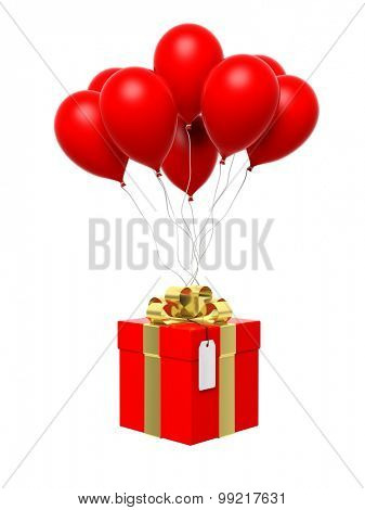 Group of red blank balloons with gift box attached isolated