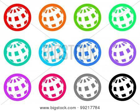 earth flat design modern vector circle icons colorful set for web and mobile app isolated on white background