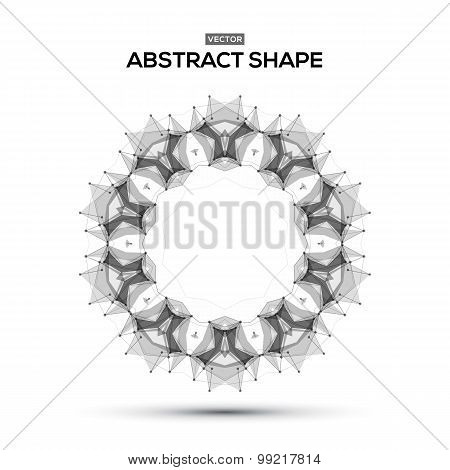 Abstract low poly geometric technology vector design element. Connection structure. Vector data scie