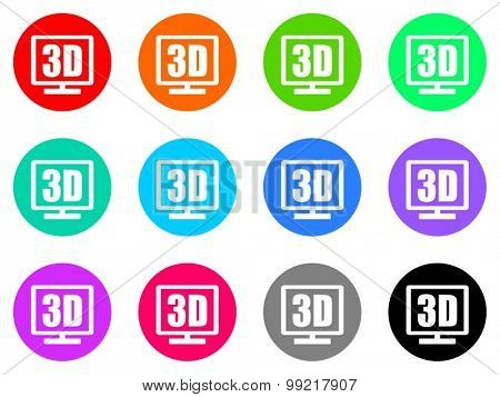 3d display flat design modern vector circle icons colorful set for web and mobile app isolated on white background