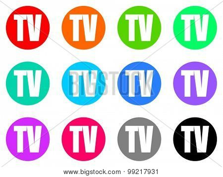 tv flat design modern vector circle icons colorful set for web and mobile app isolated on white background