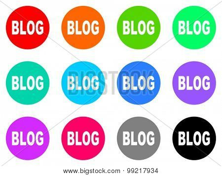 blog flat design modern vector circle icons colorful set for web and mobile app isolated on white background