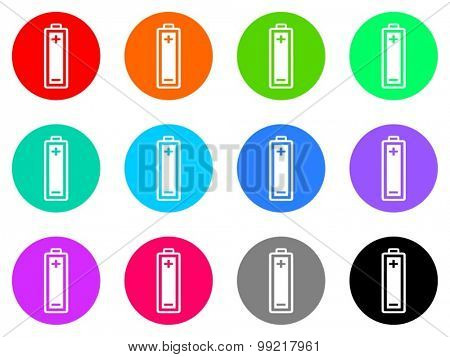 battery flat design modern vector circle icons colorful set for web and mobile app isolated on white background
