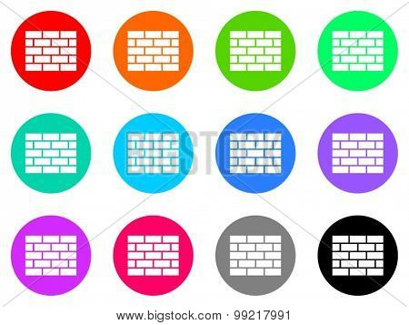 firewall flat design modern vector circle icons colorful set for web and mobile app isolated on white background
