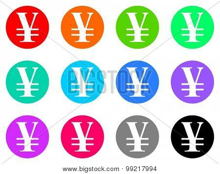 yen flat design modern vector circle icons colorful set for web and mobile app isolated on white background