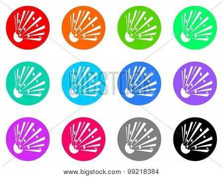 bomb flat design modern vector circle icons colorful set for web and mobile app isolated on white background