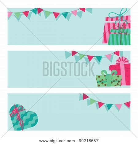 Banners with boxes of gifts and flags