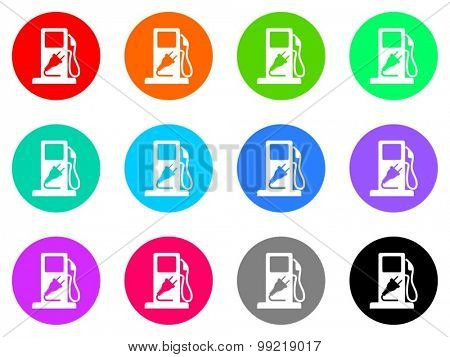 fuel flat design modern vector circle icons colorful set for web and mobile app isolated on white background