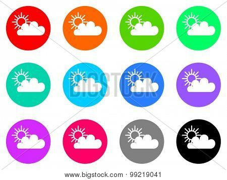 cloud flat design modern vector circle icons colorful set for web and mobile app isolated on white background