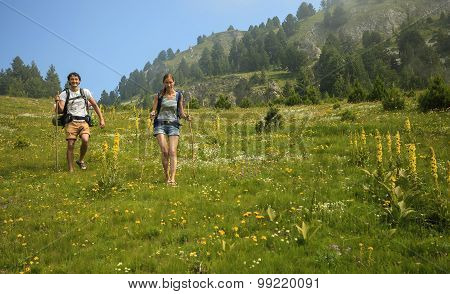 Couple Traveling In Mountains