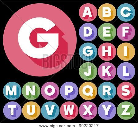 Colorful minimalistic vector alphabet in sans bold style. Uppercase letters